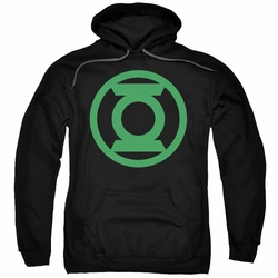 Green Lantern pull-over hoodie Green Emblem adult black
