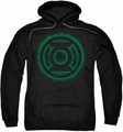 Green Lantern pull-over hoodie Green Flame Logo adult black