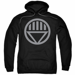 Green Lantern pull-over hoodie Grey Emblem adult black