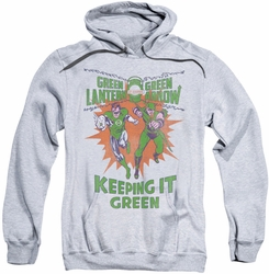 Green Lantern pull-over hoodie Keeping It Green adult athletic heather