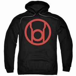 Green Lantern pull-over hoodie Red Emblem adult black
