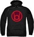Green Lantern pull-over hoodie Red Symbol adult black