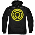 Green Lantern pull-over hoodie Yellow Emblem adult black