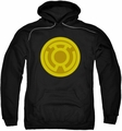 Green Lantern pull-over hoodie Yellow Symbol adult black