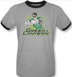 Green Lantern ringer t-shirt Rough Distress adult heather black