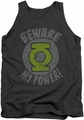 Green Lantern tank top Beware mens charcoal