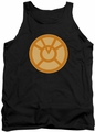 Green Lantern tank top Orange Symbol mens black