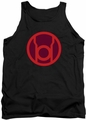 Green Lantern tank top Red Symbol mens black