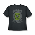 Green Lantern youth teen t-shirt Beware charcoal