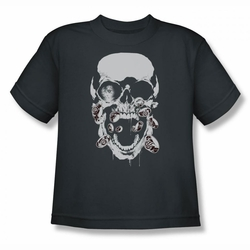 Green Lantern youth teen t-shirt Black Lantern Skull charcoal