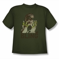 Green Lantern youth teen t-shirt Bling Bling military green