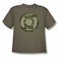 Green Lantern youth teen t-shirt Camo Logo safari green