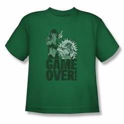 Green Lantern youth teen t-shirt Game Over kelly green