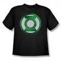 Green Lantern youth teen t-shirt Green Chrome Logo black