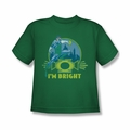 Green Lantern youth teen t-shirt I'M Bright kelly green