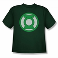Green Lantern youth teen t-shirt Lantern Logo hunter green