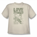 Green Lantern youth teen t-shirt Love Stinks cream