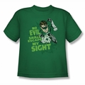 Green Lantern youth teen t-shirt No Evil kelly green
