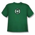 Green Lantern youth teen t-shirt Scribble Lantern Logo kelly green