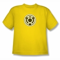 Green Lantern youth teen t-shirt Sinestro Corps Logo yellow
