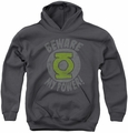 Green Lantern youth teen hoodie Beware charcoal