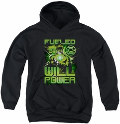 Green Lantern youth teen hoodie Fueled black