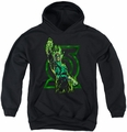 Green Lantern youth teen hoodie Fully Charged black