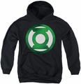 Green Lantern youth teen hoodie Green Chrome Logo black