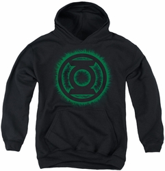 Green Lantern youth teen hoodie Green Flame Logo black