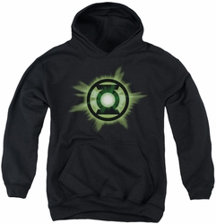 Green Lantern youth teen hoodie Green Glow black