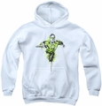 Green Lantern youth teen hoodie Inked white