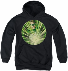 Green Lantern youth teen hoodie Light Em Up black