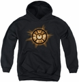 Green Lantern youth teen hoodie Orange Glow black