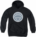 Green Lantern youth teen hoodie White Symbol black