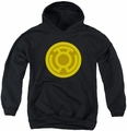 Green Lantern youth teen hoodie Yellow Symbol black