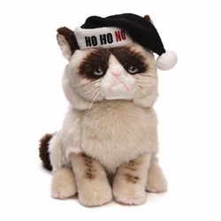 Grumpy Cat with Black Santa Hat 9-inch plush
