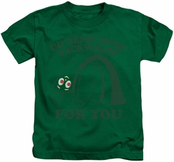 Gumby kids t-shirt Bend Backwards kelly green