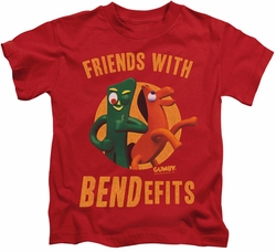 Gumby kids t-shirt Bendefits red