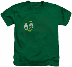 Gumby kids t-shirt Clay What kelly green