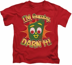 Gumby kids t-shirt Darn It red