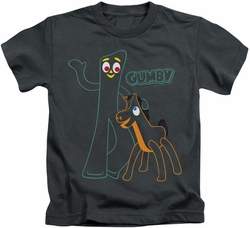 Gumby kids t-shirt Outlines charcoal