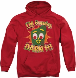 Gumby pull-over hoodie Darn It adult red