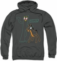 Gumby pull-over hoodie Outlines adult charcoal