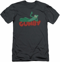 Gumby slim-fit t-shirt On Logo mens charcoal