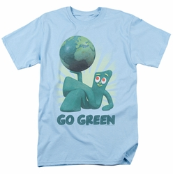 Gumby t-shirt Go Green mens Light Blue