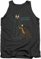 Gumby tank top Outlines mens charcoal