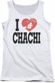 Happy Days juniors tank top I Heart Chachi white