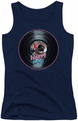 Happy Days juniors tank top On The Record navy
