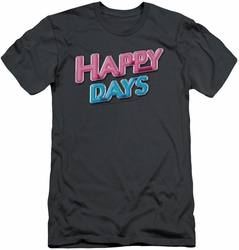 Happy Days slim-fit t-shirt Happy Days Logo mens charcoal