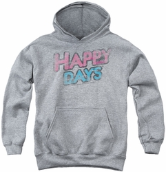 Happy Days youth teen hoodie Distressed heather